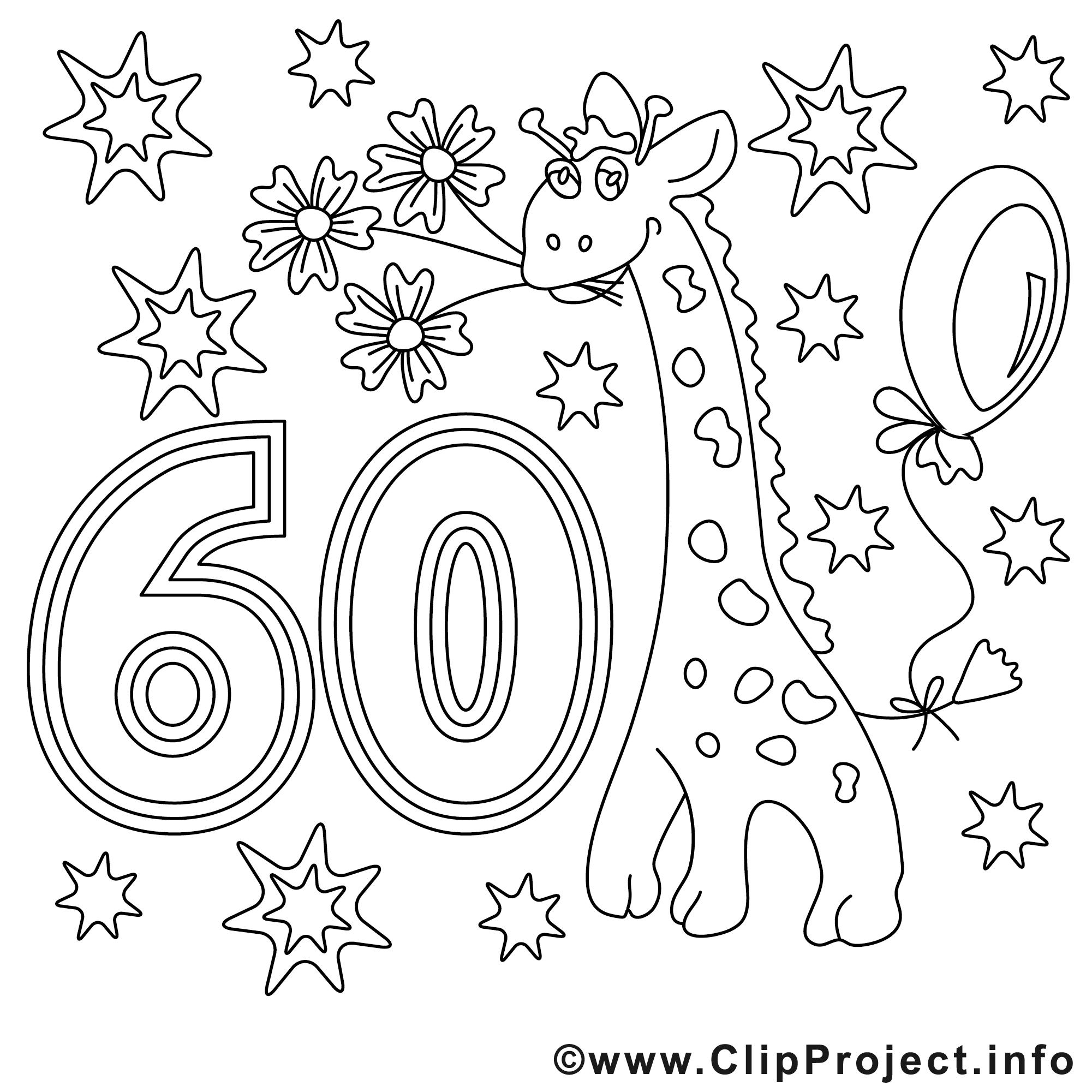 Cliparts zum 60 geburtstag clip art free download Ausmalbild zum 60. Geburtstag clip art free download