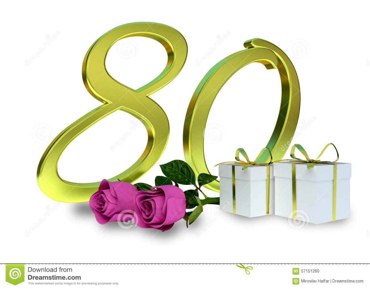 Geburtstagskonzept mit rosa rosen. Cliparts zum 80 geburtstag