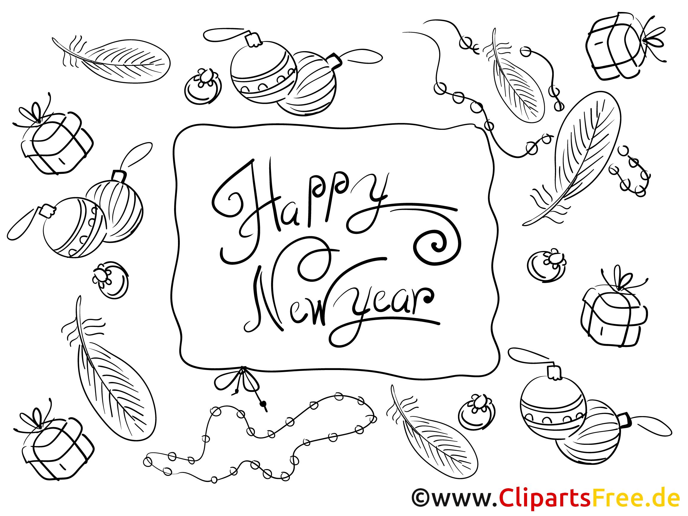 Neujahr . Cliparts zum ausmalen