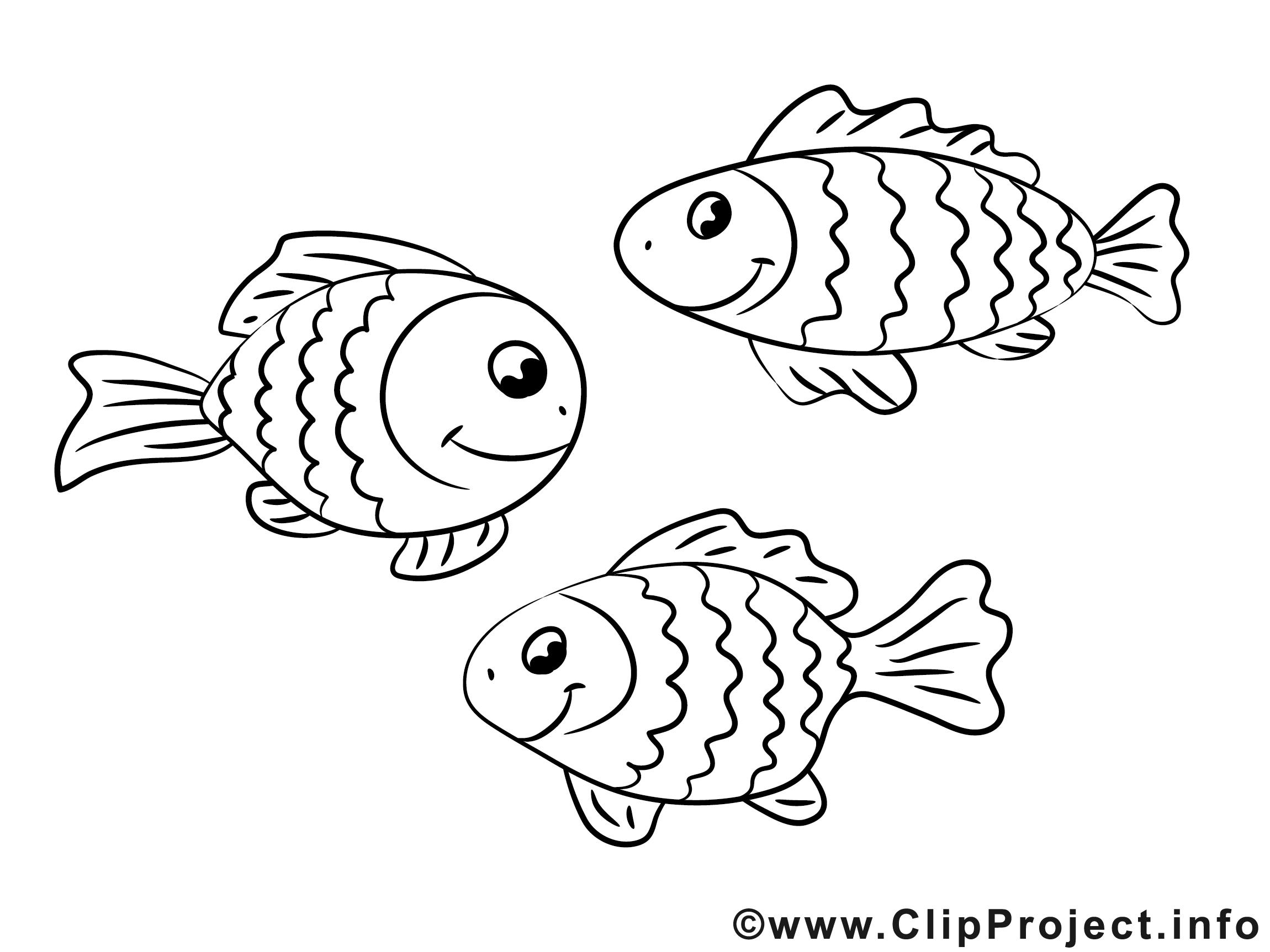 Cliparts zum ausmalen. Fische ausmalbilder gratis
