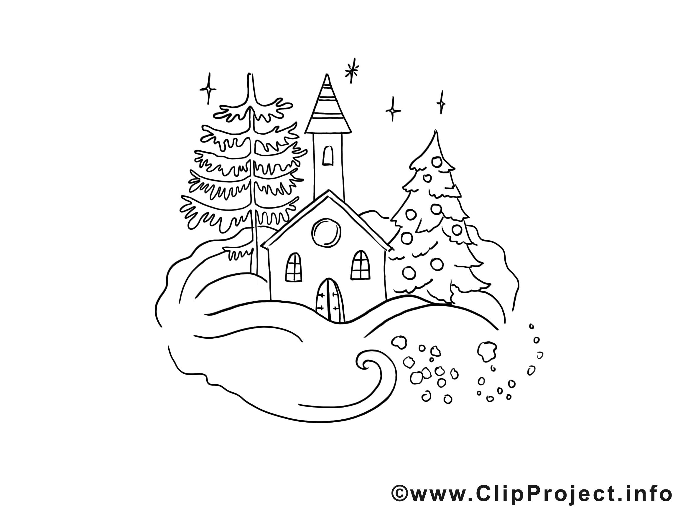 Cliparts zum ausmalen. Weihnachten gebirgedorf im winter
