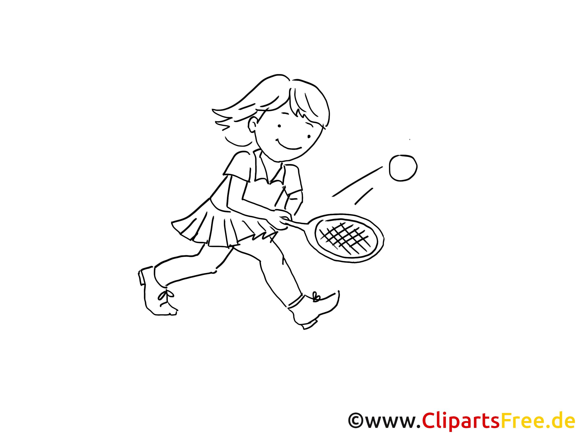 Tennis f r kinder. Cliparts zum ausmalen