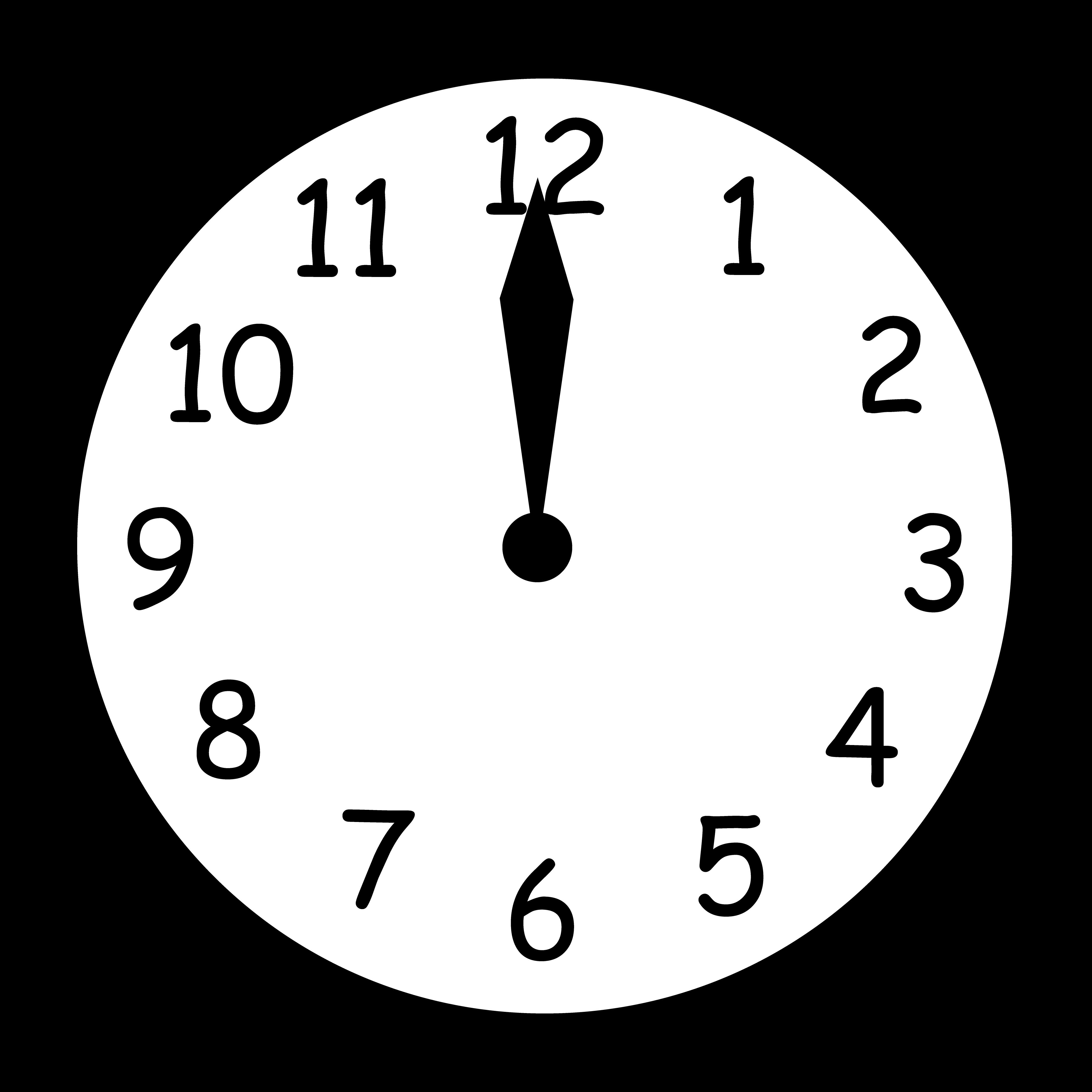 Clock 7 o clock clipart black and white jpg free stock Wall Clock Striking Twelve - Free Clip Art jpg free stock