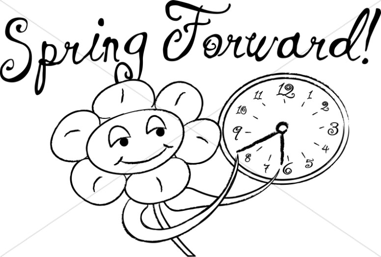 Clock clipart black and white going forward png library Spring Forward with Happy Flowers in Black and White | Christian ... png library