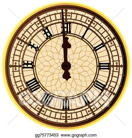 Clock midnight clipart picture stock Vector Stock - Big ben midnight clock face. Clipart Illustration ... picture stock