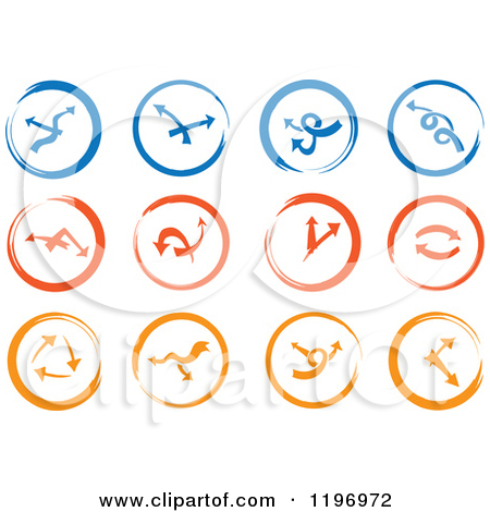 Clock with arrow clipart jpg Clipart of Blue Red and Orange Abstract Clock and Arrow Icons ... jpg
