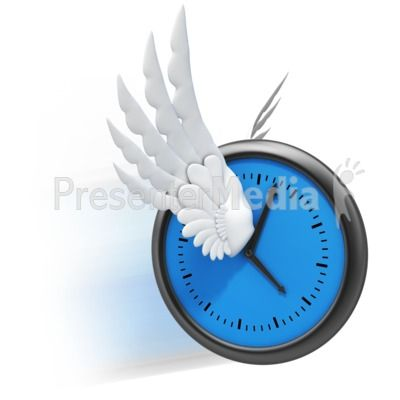 Clock with wings clipart freeuse stock An image of a clock with wings representing \