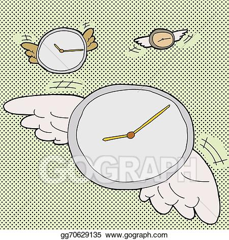 Clock with wings clipart image download Vector Clipart - Time flies clocks. Vector Illustration gg70629135 ... image download