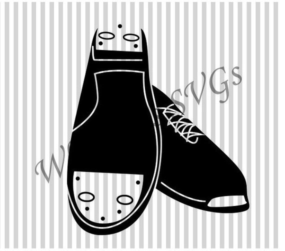 Clogging shoes clipart vector black and white library Clogging Shoe SVG DXF Cutting File | Products | Cutting files ... vector black and white library