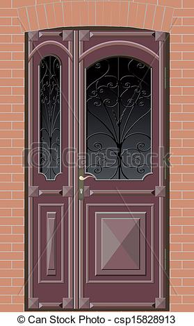 Closed double door clipart jpg freeuse library Vector Clip Art of closed door with grille - old closed double ... jpg freeuse library