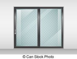 Closed double door clipart. Glazing illustrations and contemporary