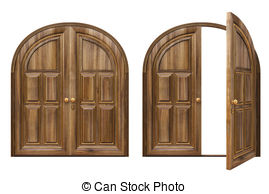 Illustrations and royalty open. Closed double door clipart