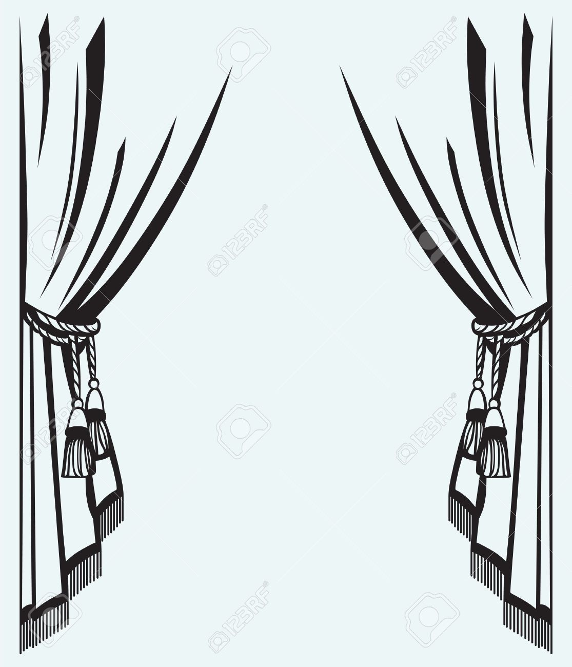 Closed stage curtains clipart black and white clip art freeuse library Theater Curtains Drawing | Free download best Theater Curtains ... clip art freeuse library