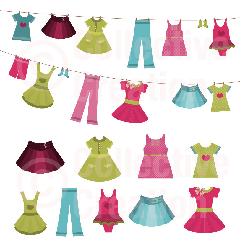 Summer clothes clipart free Girls Clothes on Line Clip Art | Clipart Panda - Free Clipart Images free
