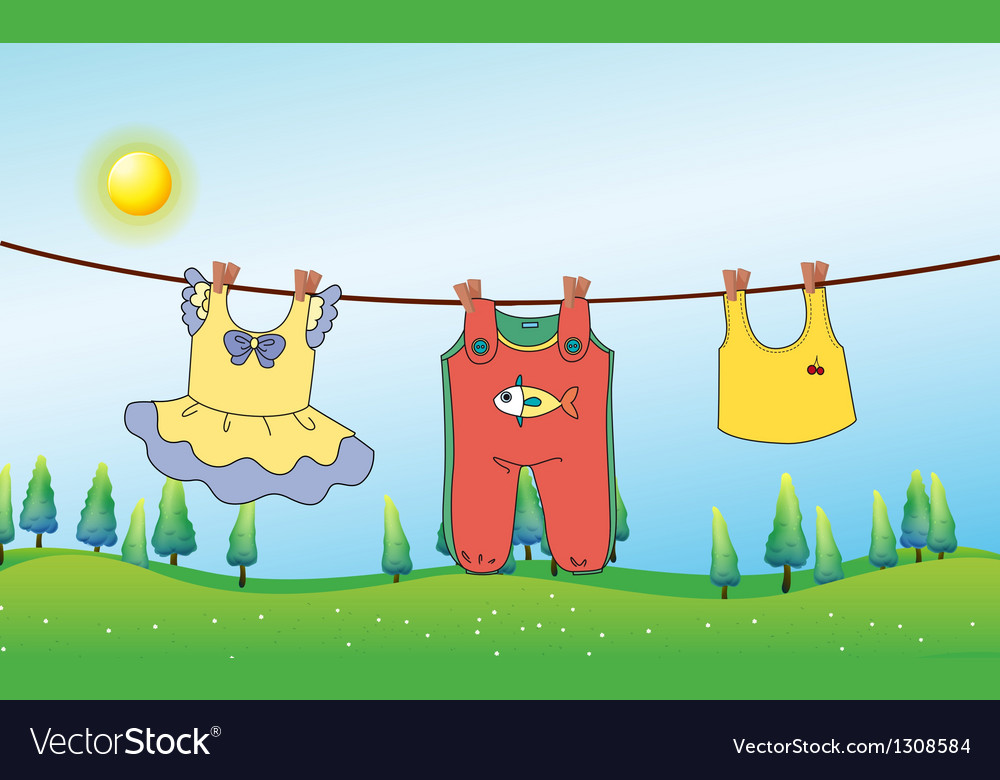 Clothes hanging clipart clip art transparent library Kids clothes hanging under the sun clip art transparent library