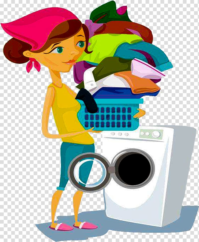 Clothes laundry clipart png royalty free download Woman doing laundry service , Washing machine Laundry Clothing, Wash ... png royalty free download