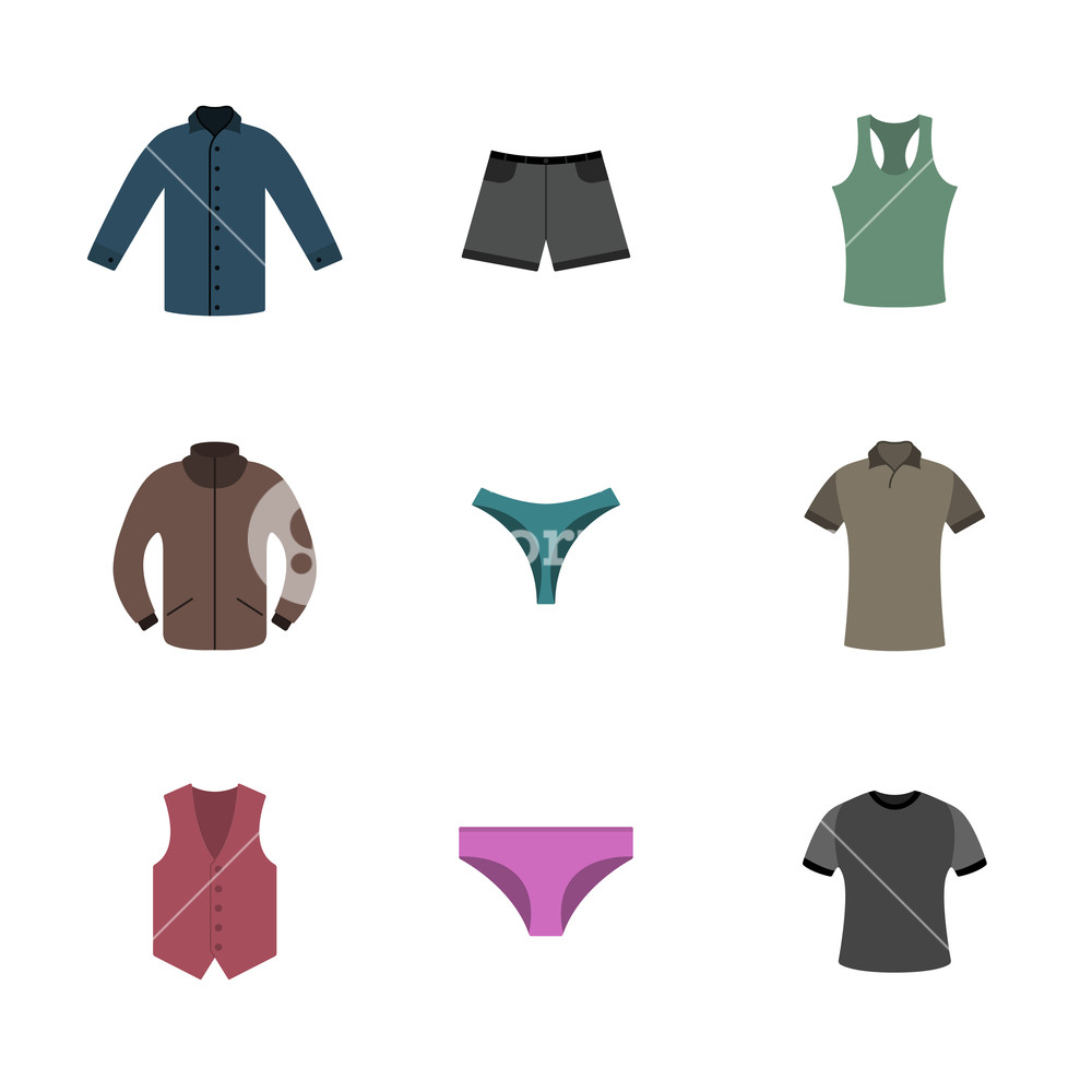 Clothing items shirt clipart clip royalty free library Set various upper and lower clothing in flat style, wardrobe design ... clip royalty free library
