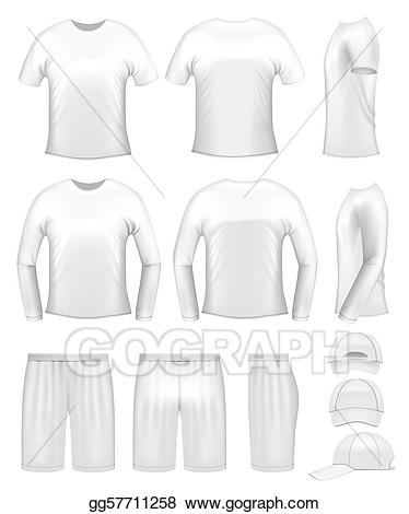 Clothing templates clipart clipart black and white stock Vector Stock - White men\'s clothing templates. Clipart Illustration ... clipart black and white stock