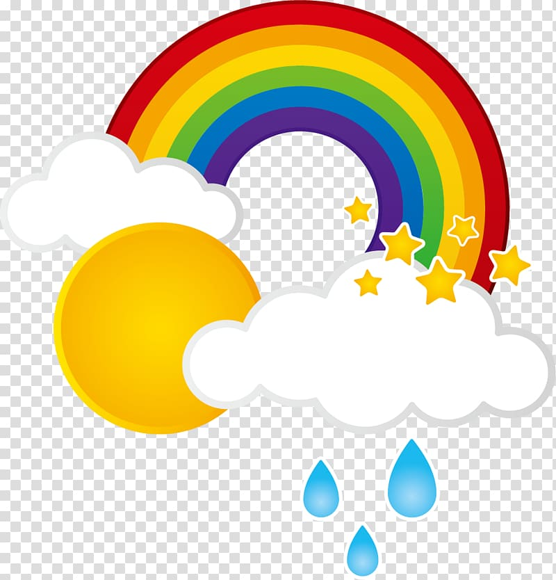 Rainbow and clouds clipart banner transparent Rainbow near sun illustration, Rainbow Cloud Weather, Rain clouds ... banner transparent