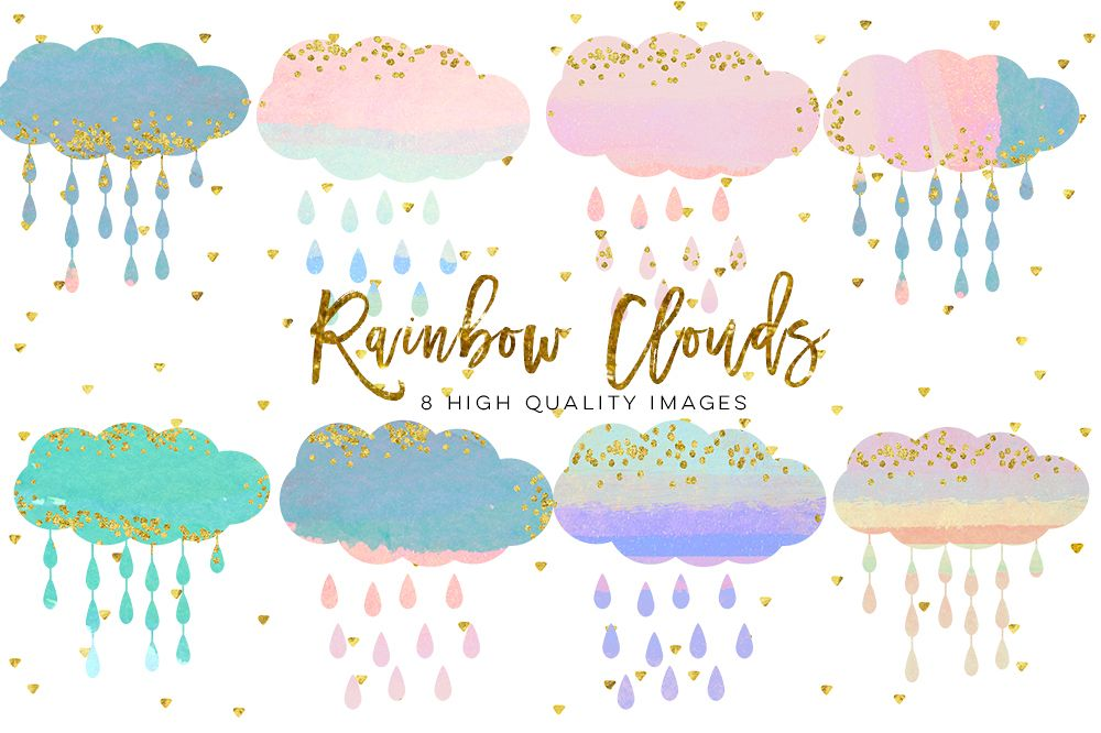 Clouds clipart pack graphic freeuse stock baby clouds clip art, Watercolor fluffy clouds and rain drops, digital  papers, magical clipart, nursery art, children decor, whimsical graphic freeuse stock