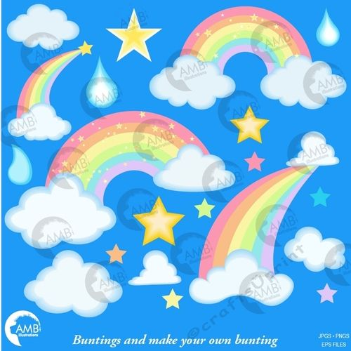 Clouds clipart pack picture freeuse Pastel Clouds and Rainbows Clipart AMB-2443 | Latest Designer ... picture freeuse