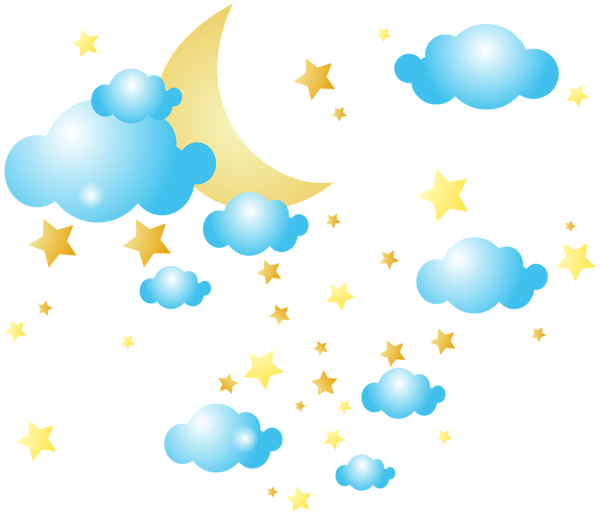Clouds covering the sun clipart vector black and white download Moon Clouds and Stars PNG Clip-Art Image | Клипарты | Pinterest ... vector black and white download