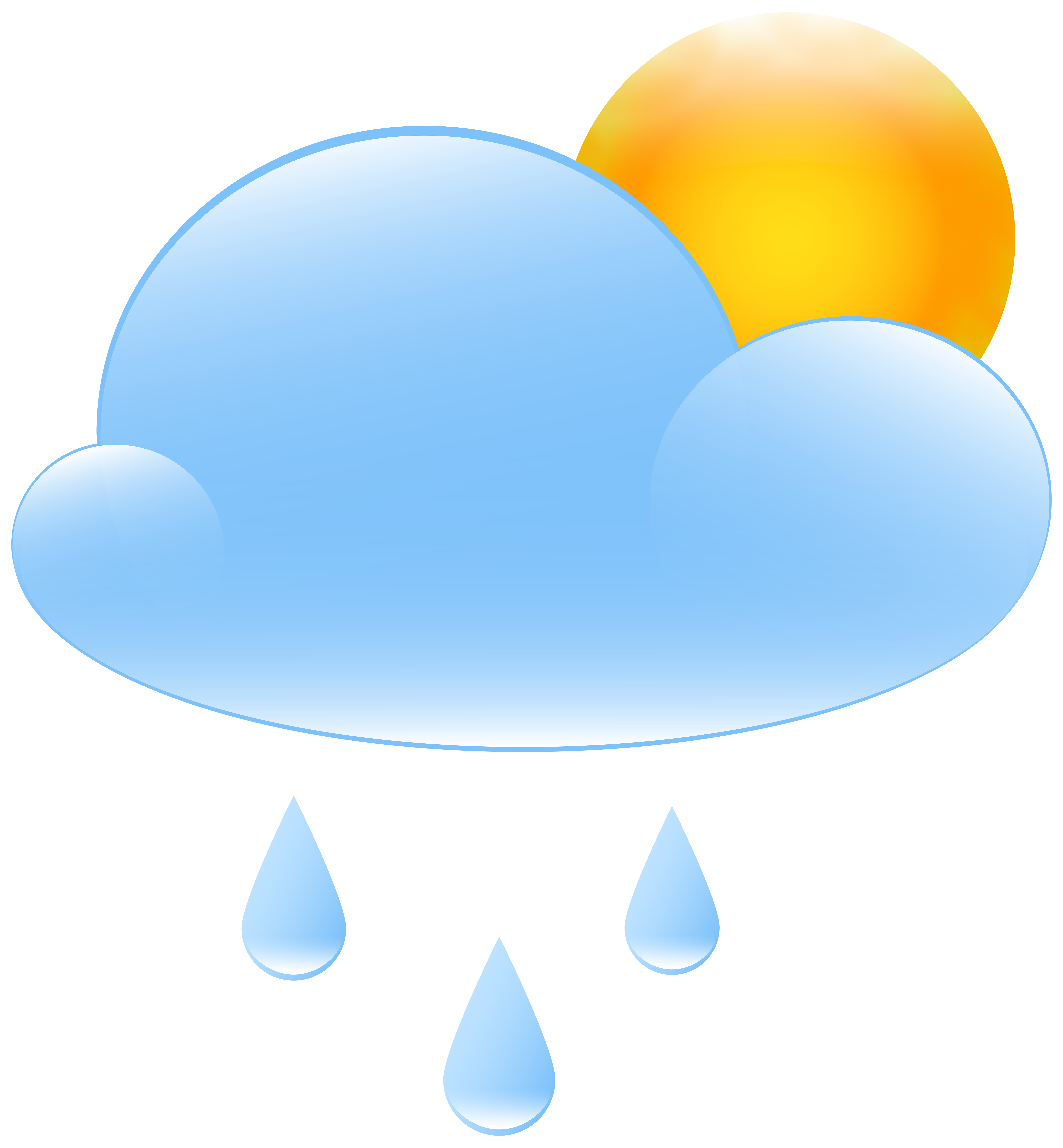 Rain sun clipart picture black and white library Partly Cloudy with Sun and Rain Weather Icon PNG Clip Art - Best WEB ... picture black and white library