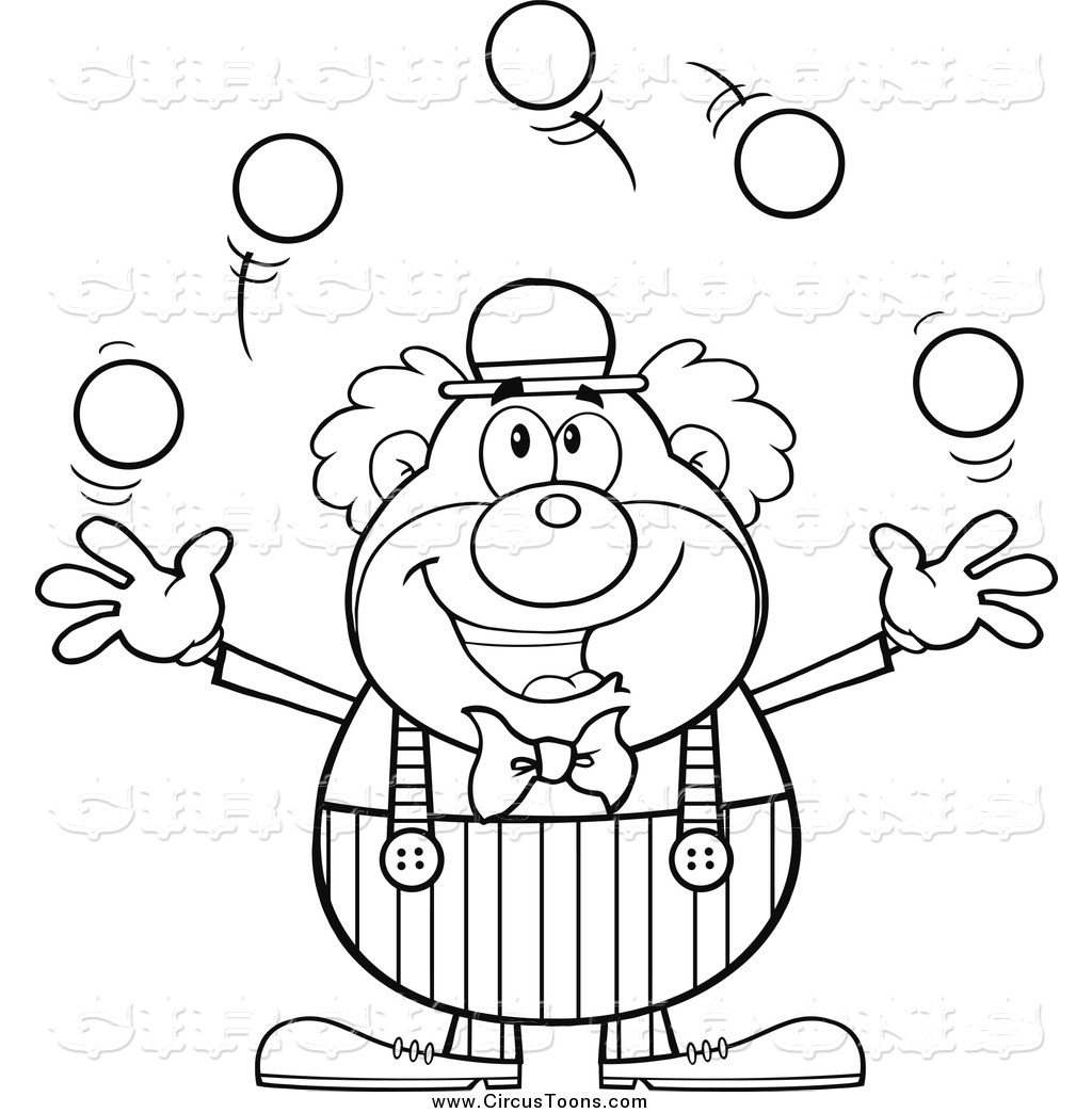 Clown and circus clipart black and white svg library library Circus Clipart of a Black and White Happy Juggling Clown by Hit Toon ... svg library library