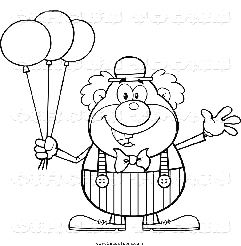 Clown and circus clipart black and white graphic free stock Circus Clipart of a Black and White Happy Clown Waving with Balloons ... graphic free stock