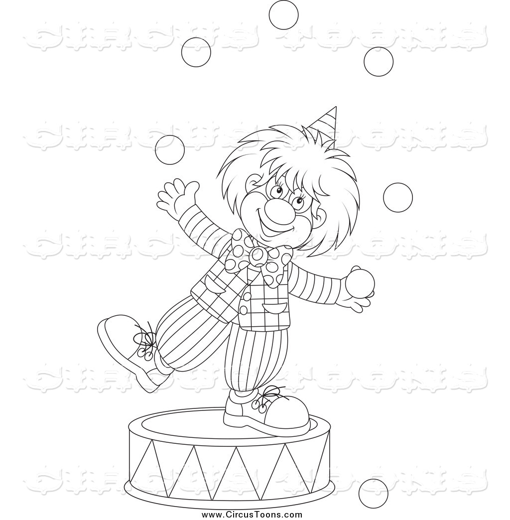 Clown and circus clipart black and white banner black and white download Circus Clipart of a Black and White Clown Juggling on a Podium by ... banner black and white download