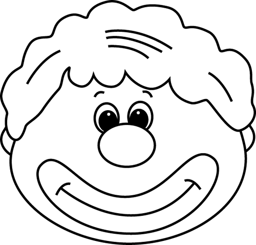 Clown face clipart black and white freeuse Black and White Clown Face Clip Art - Black and White Clown Face Image freeuse