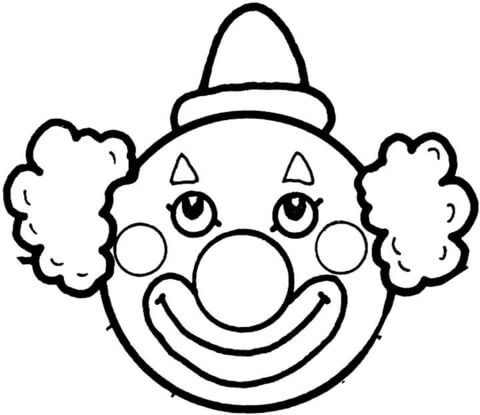 Clown face clipart black and white black and white download clown face template printable | Clown\'s Face Coloring page | Free ... black and white download