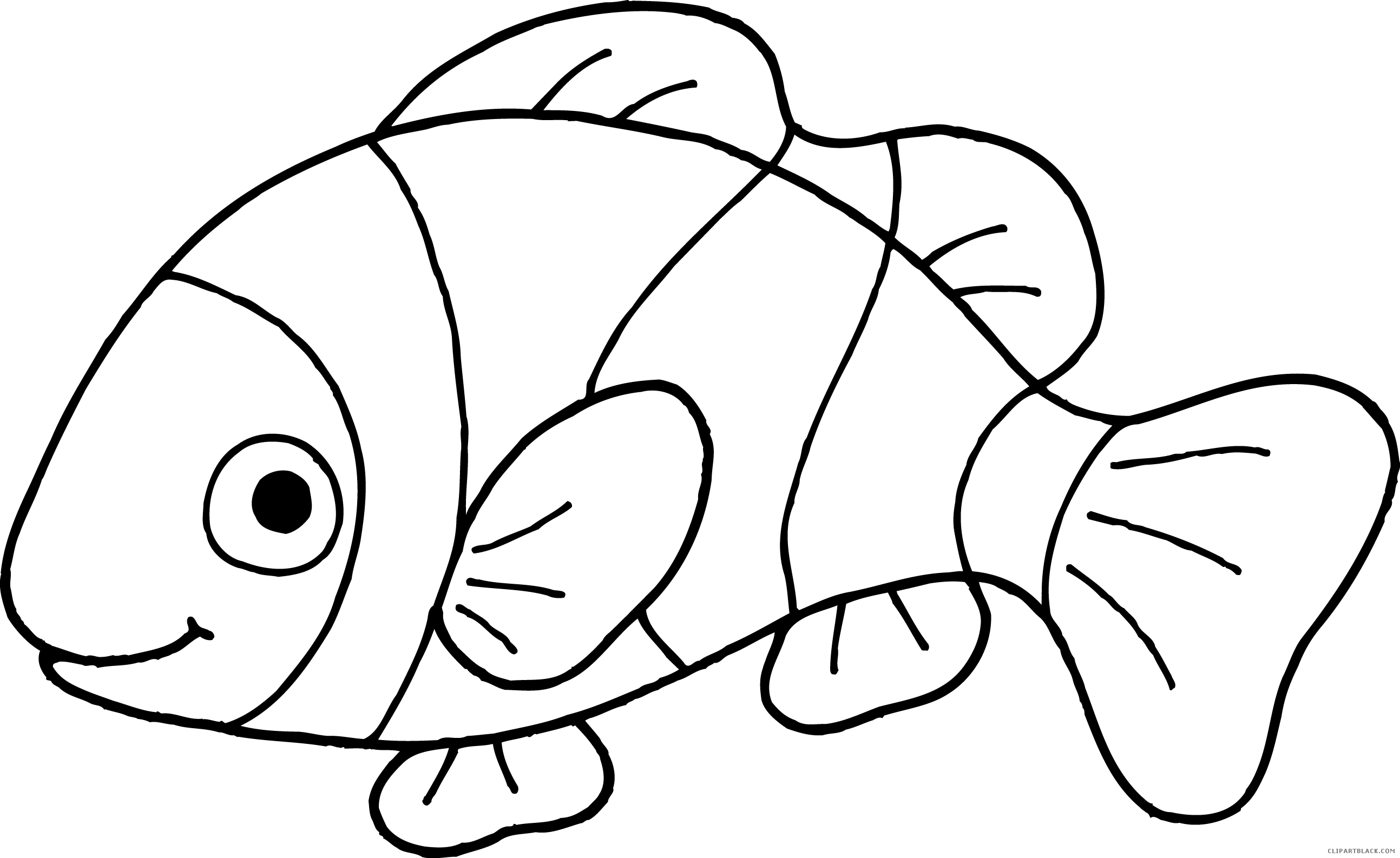 Clown fish clipart black and white picture free Clownfish Clipart - ClipartBlack.com picture free