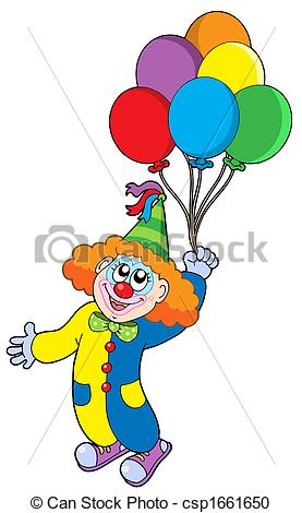 Clown kopf clipart picture transparent library Stock Illustration of Flying clown with balloons - isolated ... picture transparent library
