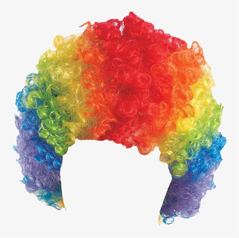 Clown wig clipart vector black and white download Curly Clown Wig - Rainbow PNG Image   Transparent PNG Free Download ... vector black and white download