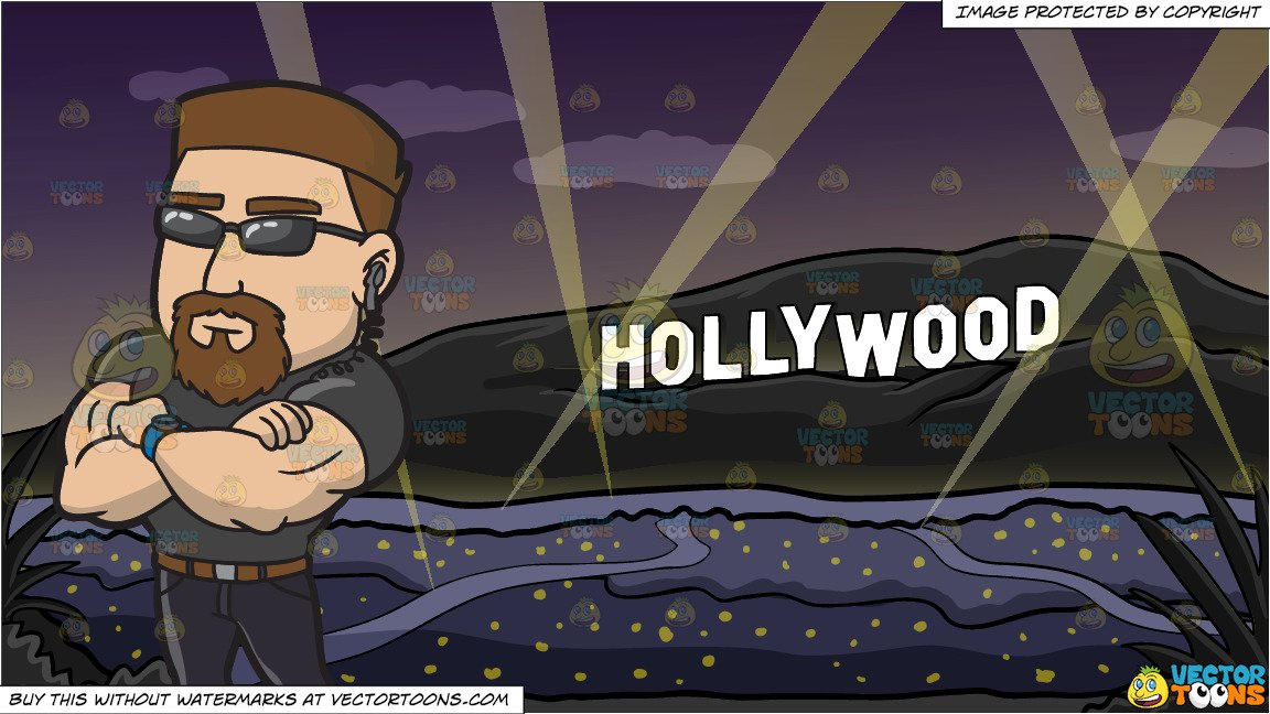 Club bouncer clipart png library stock A Professional Club Bouncer and Hollywood Sign At The Night Background png library stock