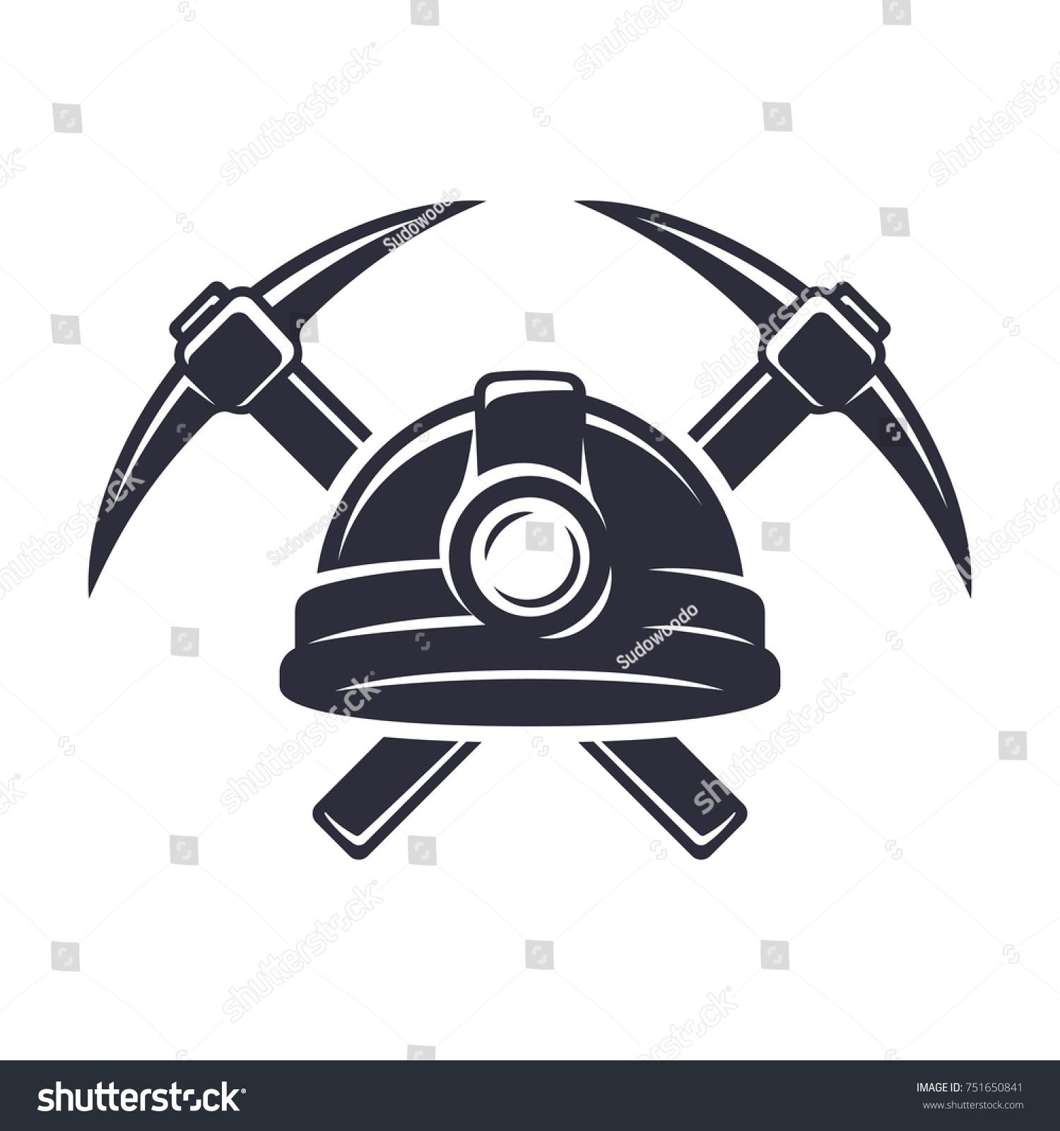 Coal miners hat pick and shovel clipart picture library library Retro mining logo with hard hat helmet and two crossed pickaxes ... picture library library