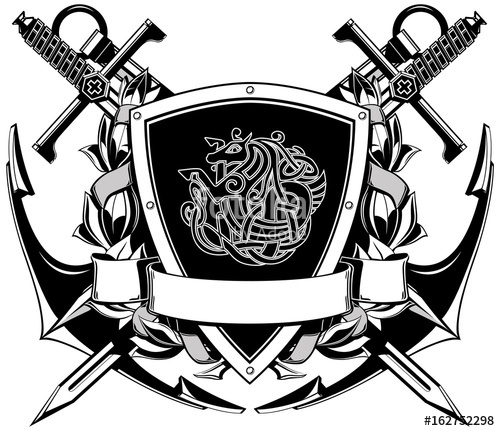 Coat of arms black and white free clipart download The black white coat of arms with swords and anchor\