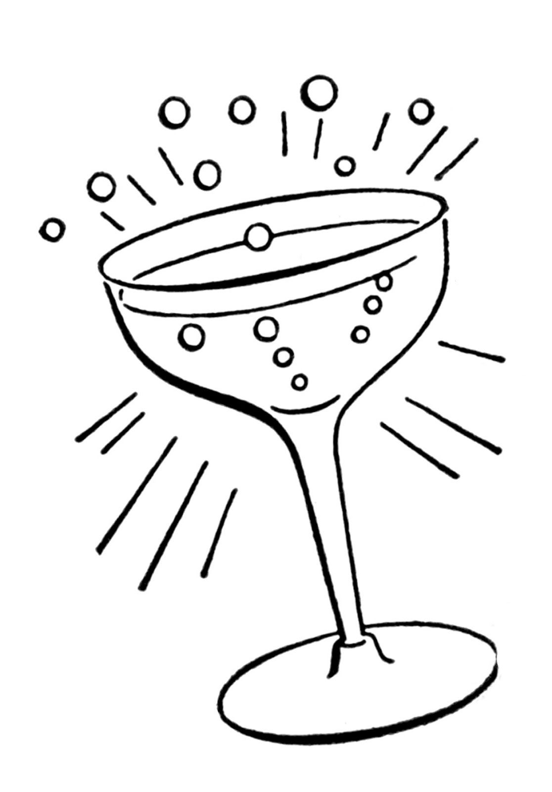 Cocktail clipart black and white graphic freeuse stock Retro Line Drawings - Cocktail Glass | Embroidery | Champagne images ... graphic freeuse stock