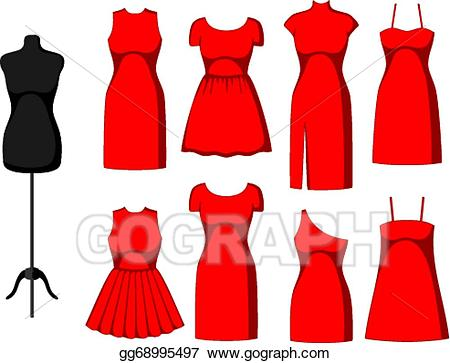 Cocktail dress clipart png transparent library Vector Illustration - Different cocktail and evening dresses. EPS ... png transparent library