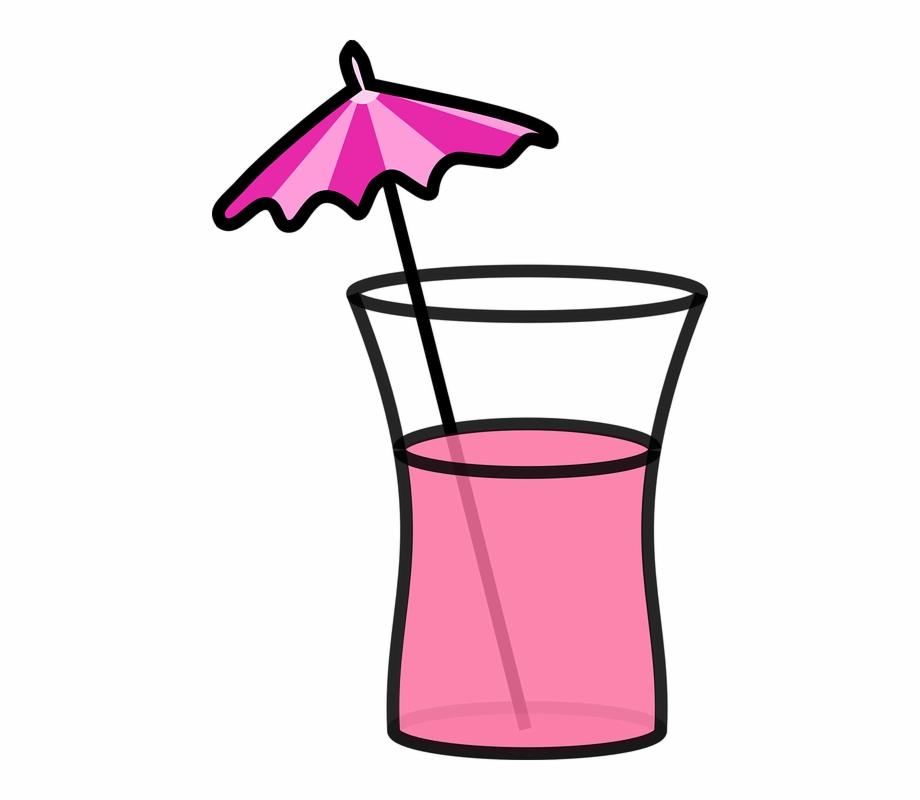 Cocktail umbrella clipart clipart black and white Cocktail Beverage Drink Pink Summer Umbrella - Umbrella Drink Clip ... clipart black and white
