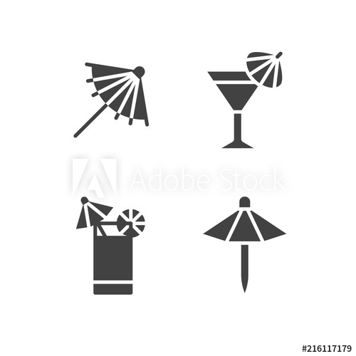 Cocktail umbrella clipart vector stock Cocktail umbrella flat glyph icons. Cold summer drinks illustrations ... vector stock