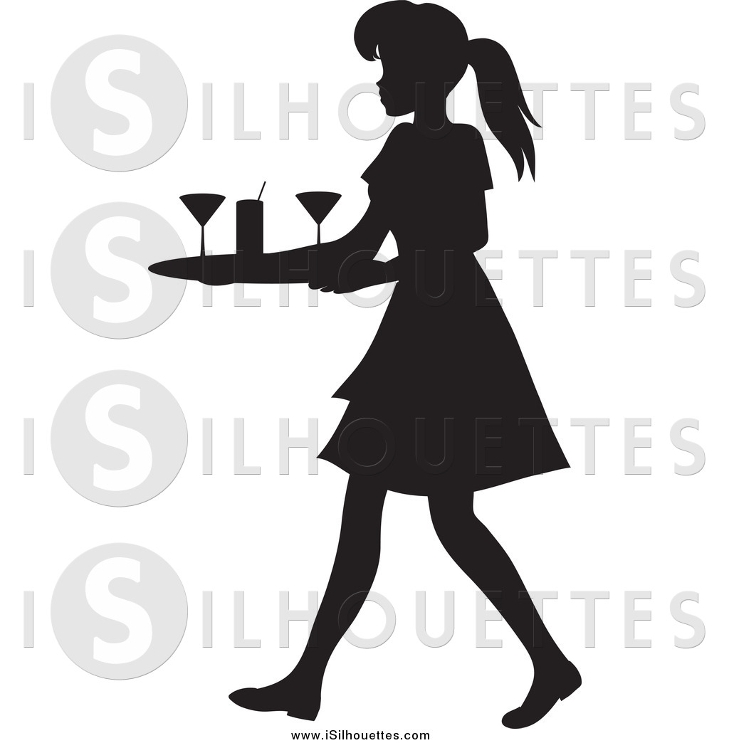 Cocktail waitress clipart clipart freeuse library Clipart of a Black Silhouetted Waitress Woman Tidying up ... clipart freeuse library