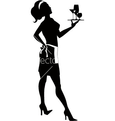Cocktail waitress clipart png library library Free Vector   Silhouette of a cocktail waitress vector - by ... png library library