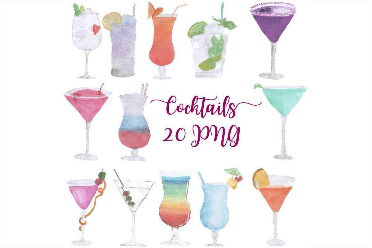Cocktails clipart transparent Hand Drawn Watercolor Cocktails Clipart transparent