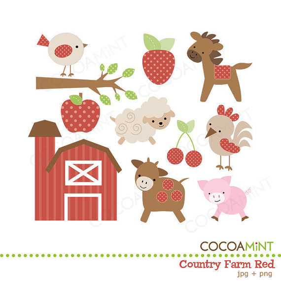 Country farm red clip. Cocoa mint clipart