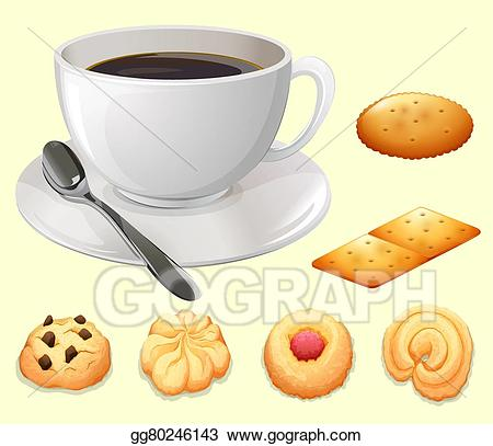 Coffee and cookies clipart clipart transparent library Vector Art - Cup of coffee and cookies. EPS clipart ... clipart transparent library
