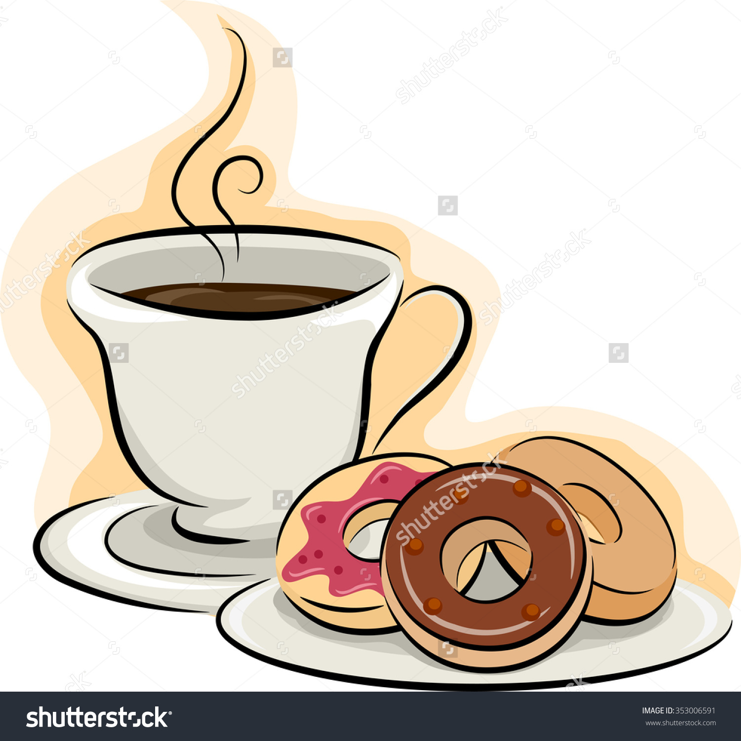 Coffee and doughnuts clipart black and white stock Donut Clipart Free | Free download best Donut Clipart Free ... black and white stock
