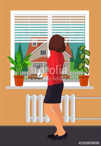 Coffee cup in window sill clipart freeuse download Woman with a cup of coffee stands by the window. Room plants ... freeuse download