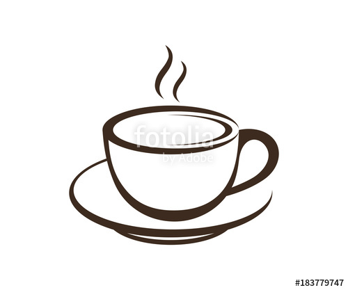 Coffee cup logo clipart picture transparent library Line Art Coffee Cup - Hot Drink on Cafe Logo Symbol\